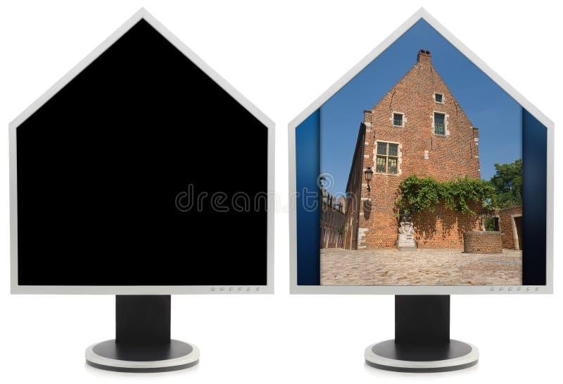 Colagem dada forma casa do monitor do PC fotos de stock