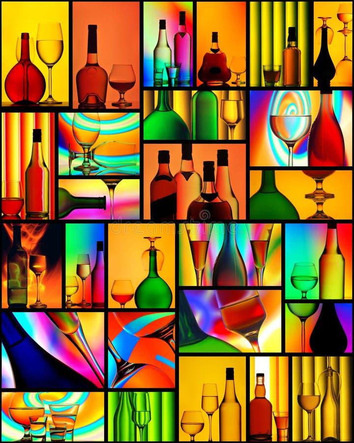 Colagem das bebidas alcoólicas ilustração do vetor