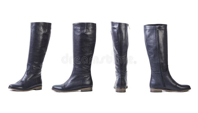 Colagem das botas das mulheres, sapatas italianas em um fundo branco fotos de stock