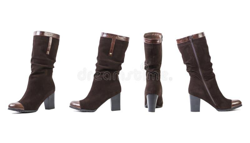 Colagem das botas das mulheres, sapatas italianas em um fundo branco fotos de stock royalty free