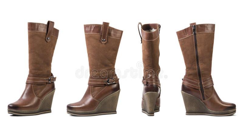 Colagem das botas das mulheres, sapatas italianas em um fundo branco imagens de stock royalty free