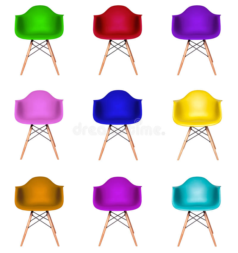 Colagem das cadeiras modernas coloridas isoladas fotografia de stock royalty free