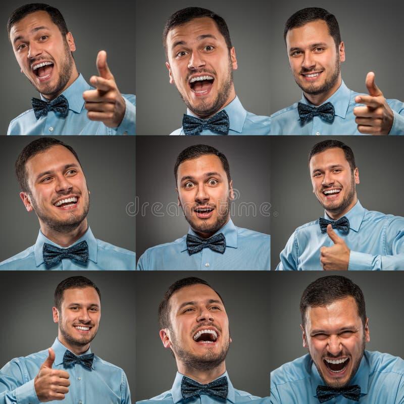 Colagem das caras de sorriso do homem do retrato imagem de stock royalty free