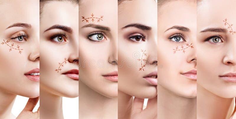 Colagem das caras do ` s da mulher com setas de levantamento foto de stock royalty free