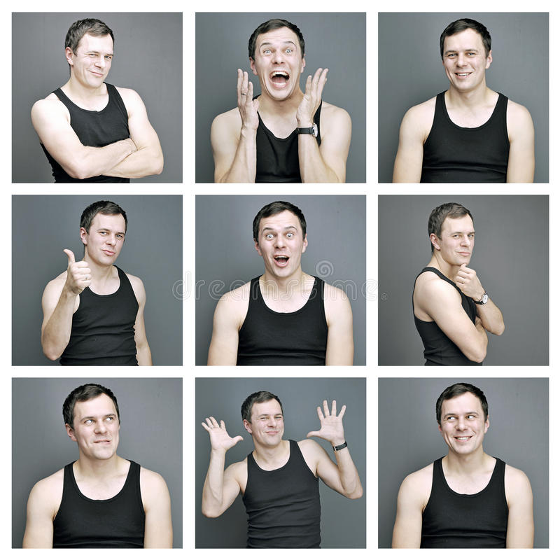 Colagem das emoções de um homem novo fotografia de stock