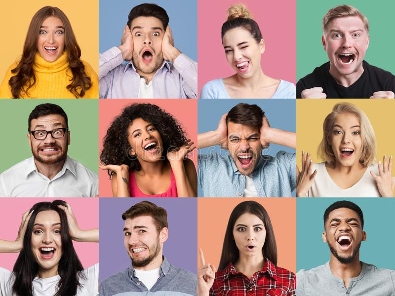 Colagem das emoções dos povos fotos de stock royalty free
