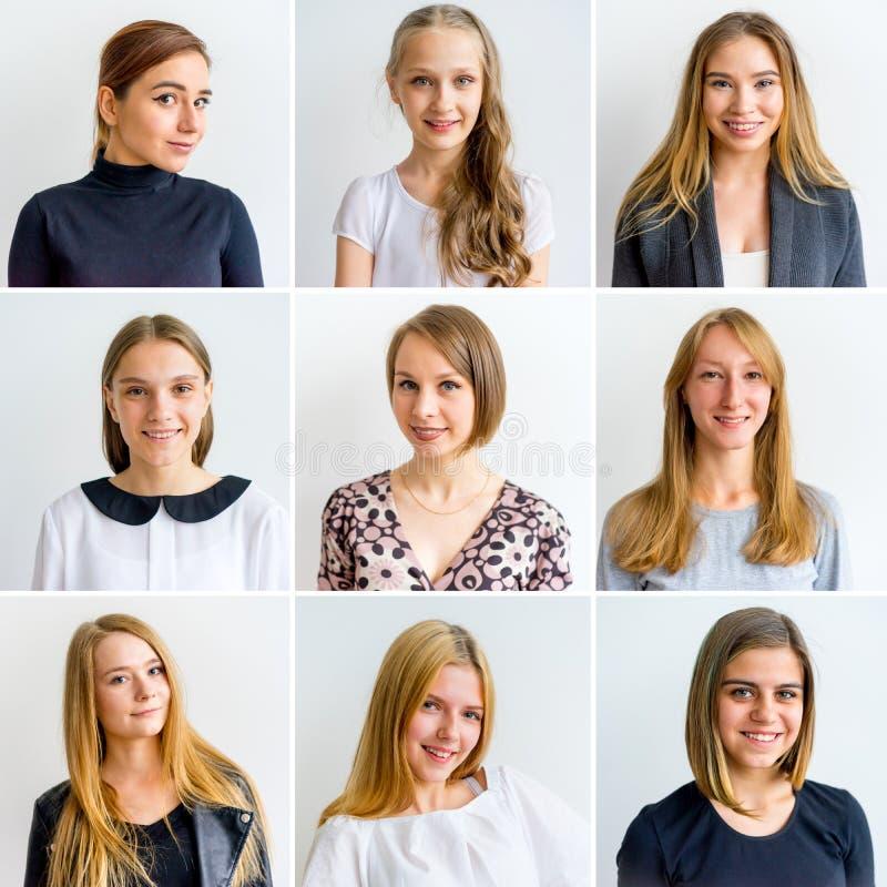 Colagem das emoções das mulheres foto de stock
