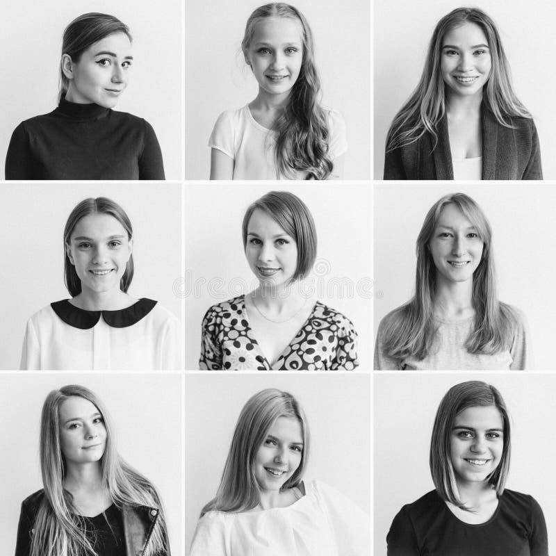 Colagem das emoções das mulheres imagem de stock royalty free