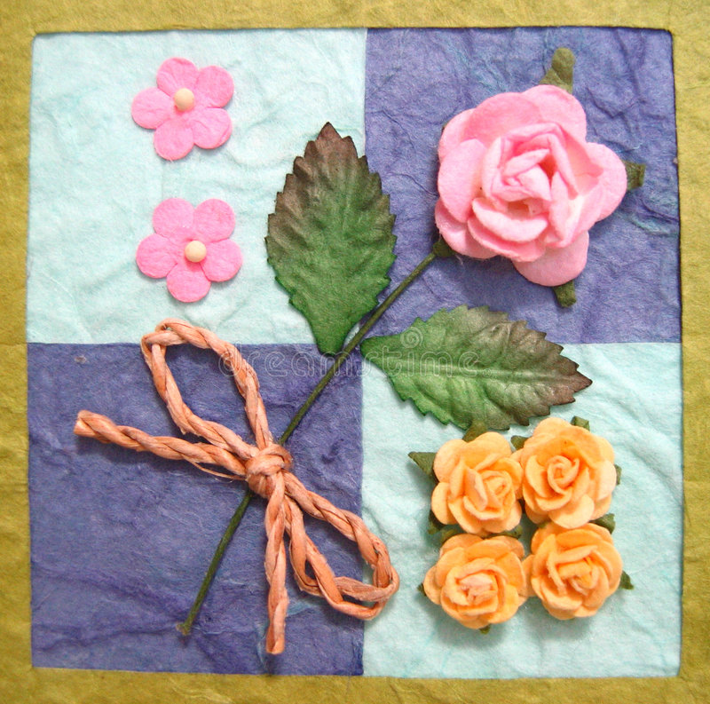 Colagem das flores no quilt fotos de stock
