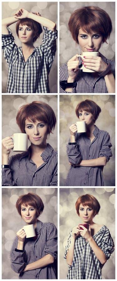 Colagem das fotos com a menina do estilo na camisa com o copo no estúdio. foto de stock royalty free
