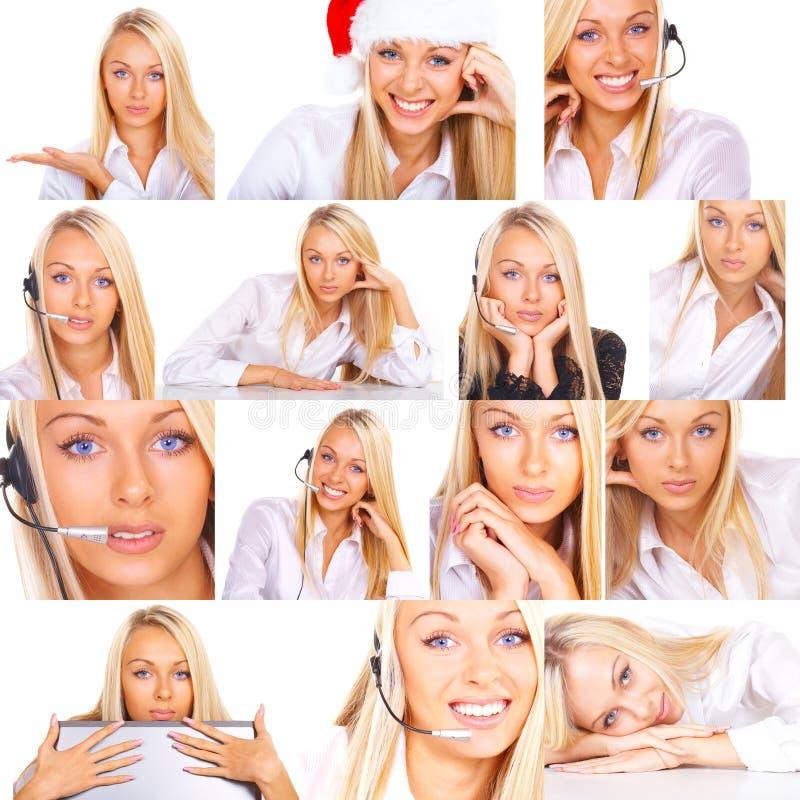 Colagem das fotos da mulher fotos de stock
