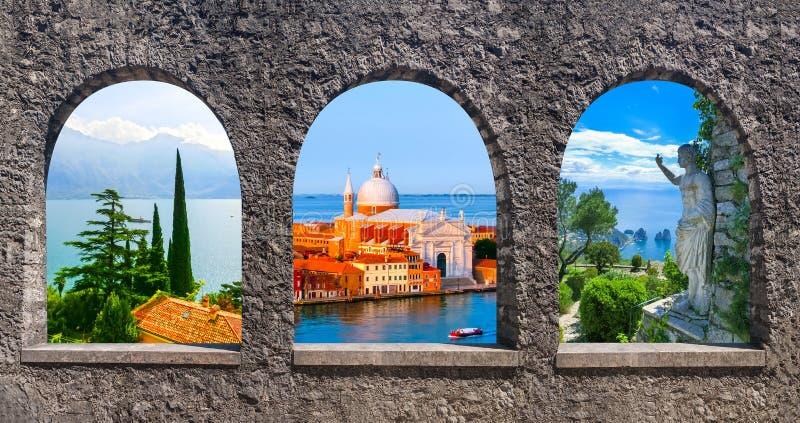 Colagem das fotos de Itália fotos de stock royalty free