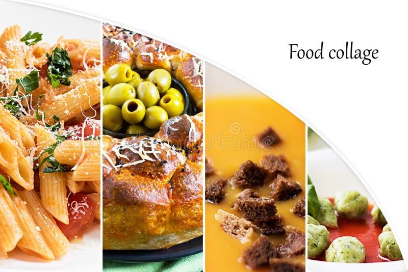 Colagem das fotos de pratos diferentes Alimento, massa, sopa do creme da abóbora com pão torrado, bolinhas de massa dos espinafre fotos de stock royalty free