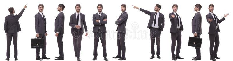 Colagem das fotos de um homem de neg?cios novo moderno fotos de stock
