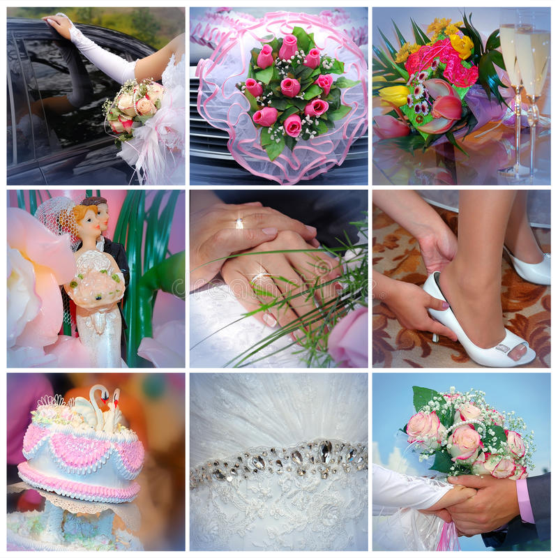 Colagem das fotos do casamento. Nove em um imagem de stock