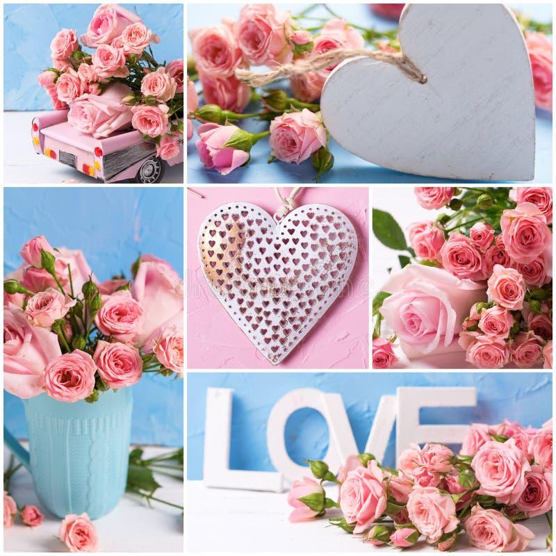 Colagem das fotos românticas com as flores e corações cor-de-rosa das rosas fotos de stock royalty free