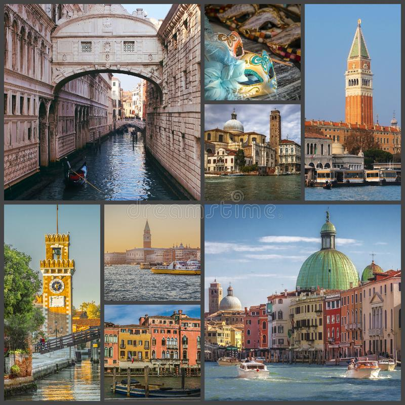 Colagem das fotos das vistas de Veneza, Itália foto de stock
