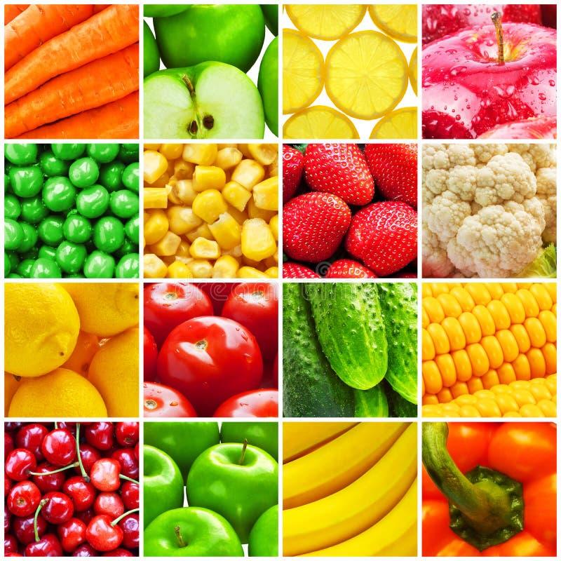 Colagem das frutas e legumes frescas imagem de stock royalty free