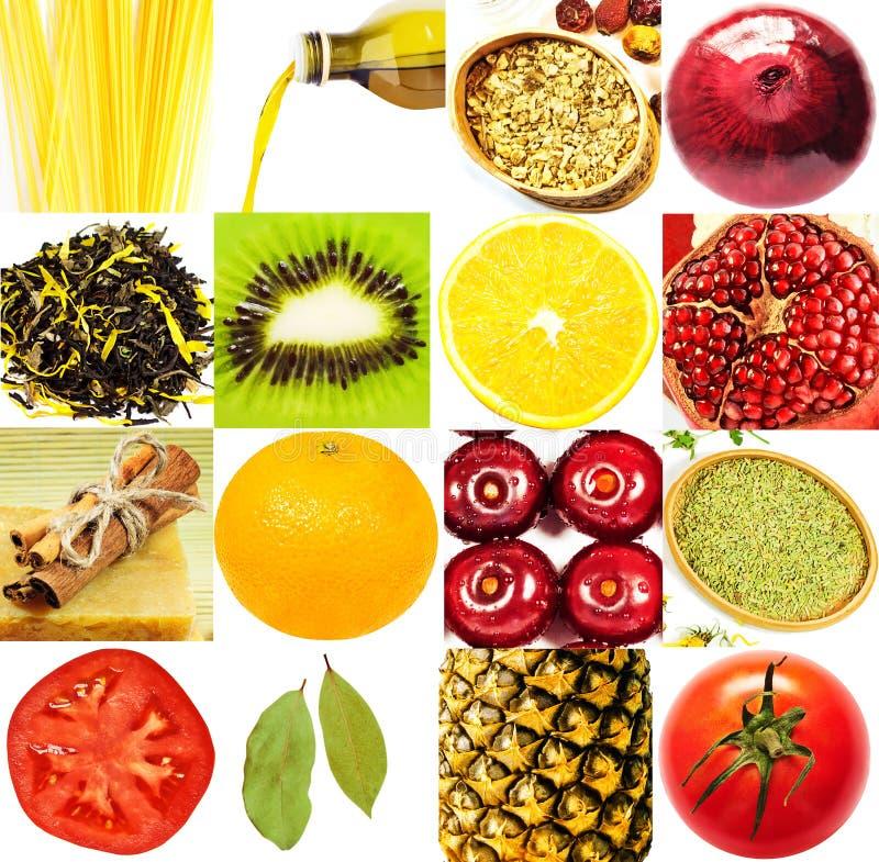 Colagem das frutas e verdura fotografia de stock royalty free