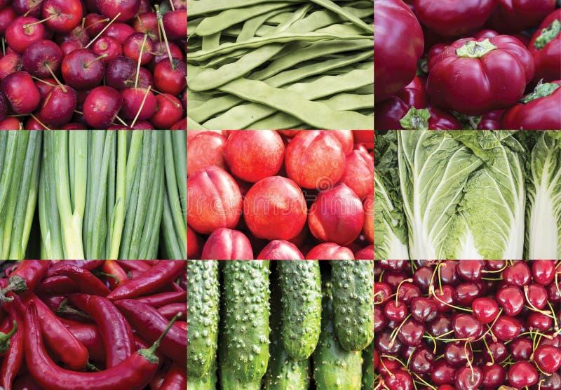 Colagem das frutas e verdura imagens de stock
