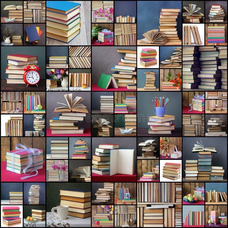 Colagem das imagens com livros foto de stock