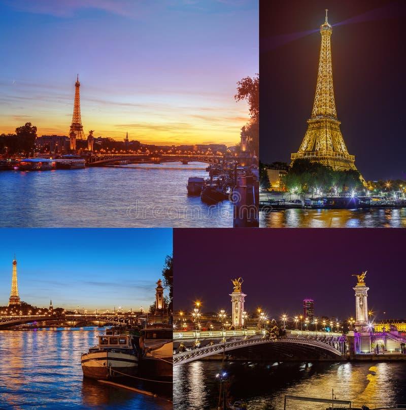 Colagem das imagens de Paris, no por do sol da noite foto de stock