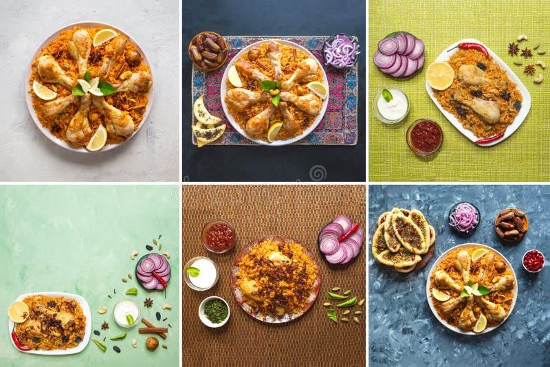 Colagem das imagens diferentes de bacias tradicionais árabes Kabsa do alimento com carne foto de stock royalty free