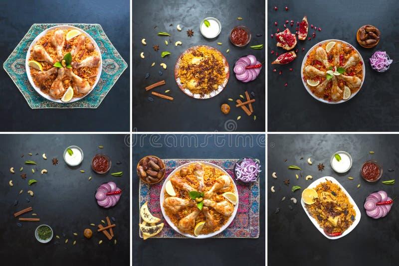 Colagem das imagens diferentes de bacias tradicionais árabes Kabsa do alimento com carne foto de stock
