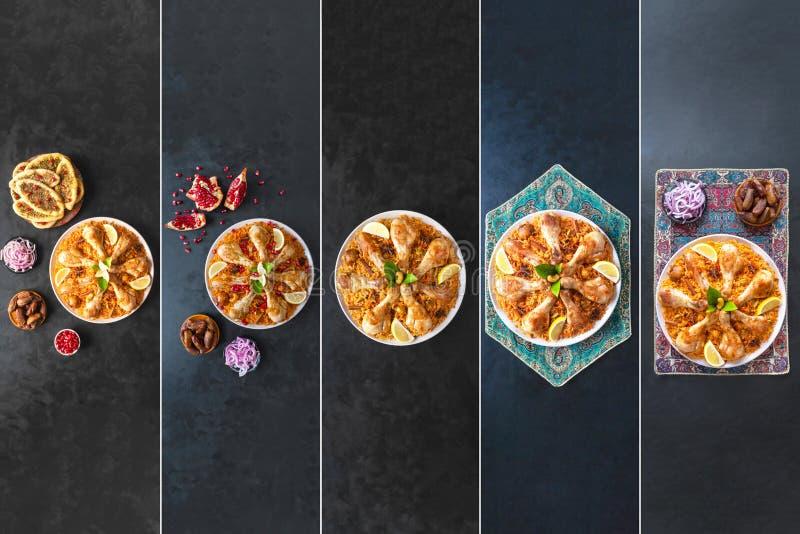 Colagem das imagens diferentes de bacias tradicionais árabes Kabsa do alimento com carne imagens de stock