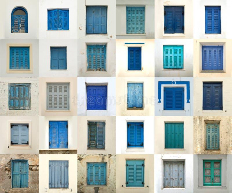 Colagem das janelas de greece imagem de stock