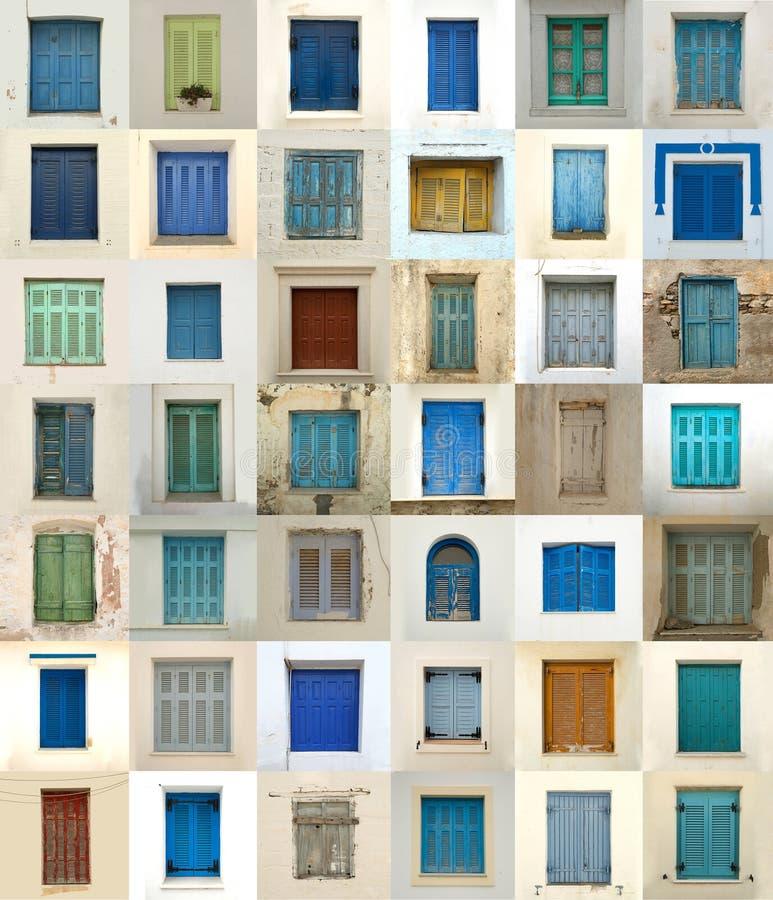 Colagem das janelas de greece foto de stock royalty free
