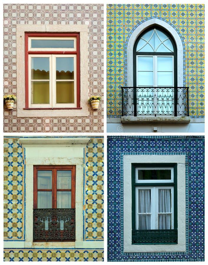 Colagem das janelas em Portugal com telhas imagem de stock