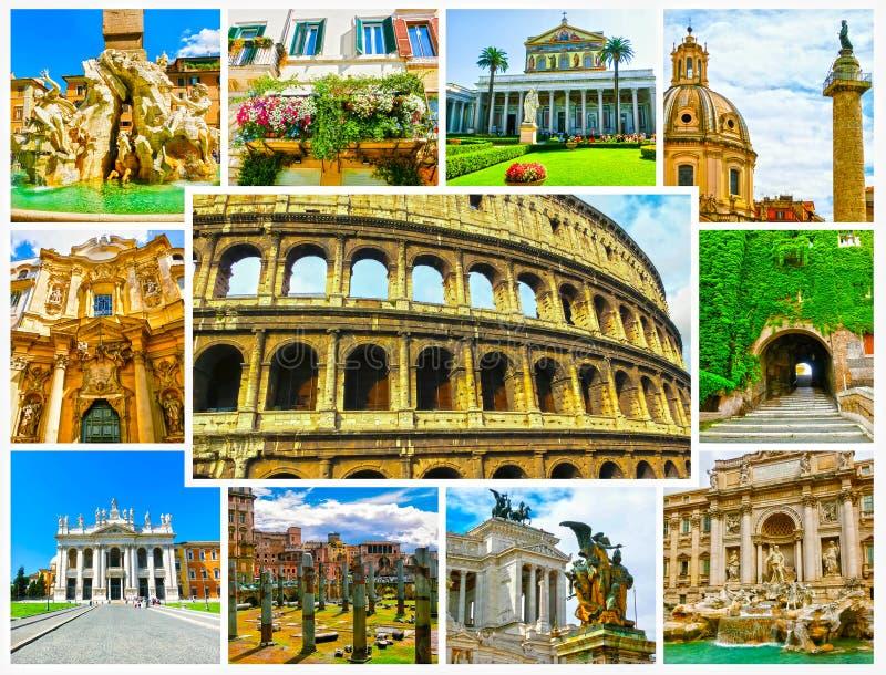 A colagem das melhores vistas de Roma, Itália imagens de stock