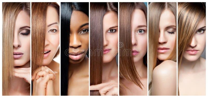 Colagem das mulheres com a vários cor do cabelo, tom de pele e tez