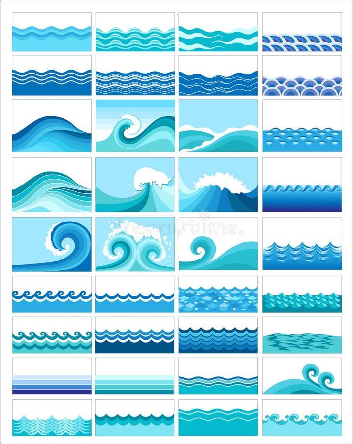 Colagem das ondas ilustração do vetor