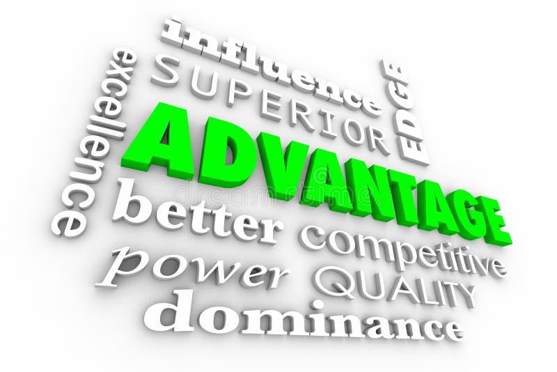 Colagem das palavras da margem competitiva da vantagem a melhor ilustração stock