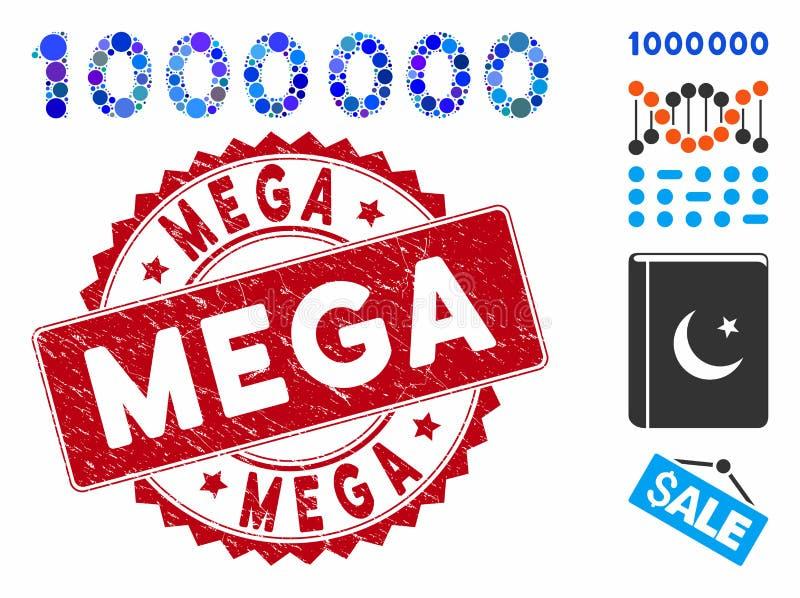 Colagem de Ícone de Texto de 1000000 Dígitos com Carimbo Grunge Mega ilustração do vetor