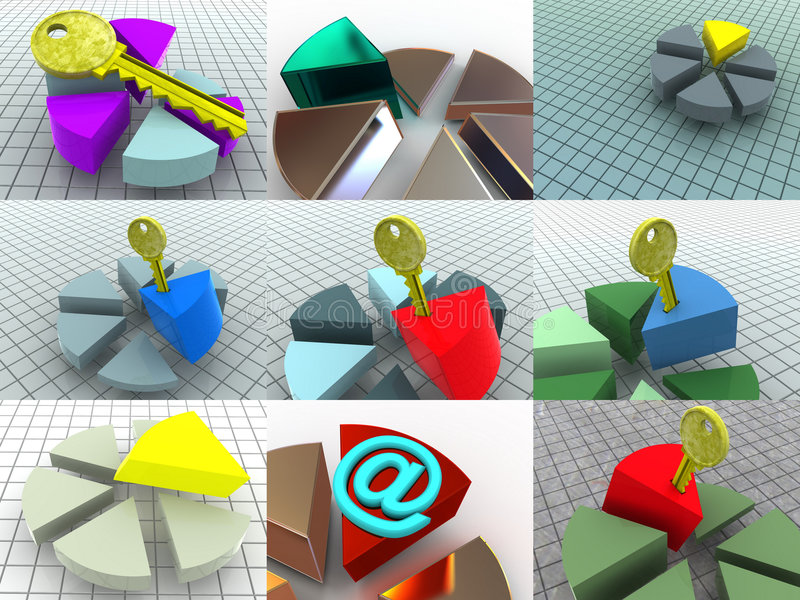 Colagem de 9 diagramas tridimensionais. ícones. ilustração stock