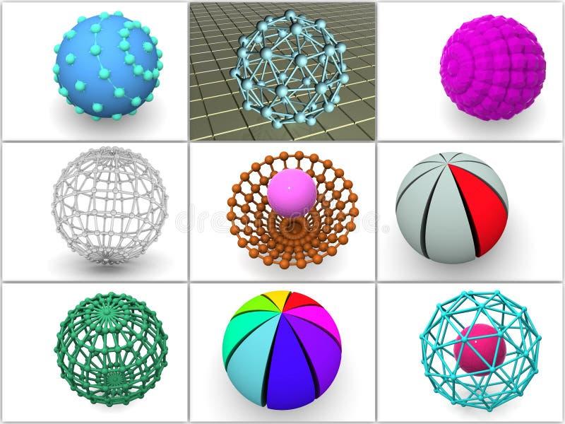 Colagem de 9 esferas tridimensionais. ícones. ilustração do vetor