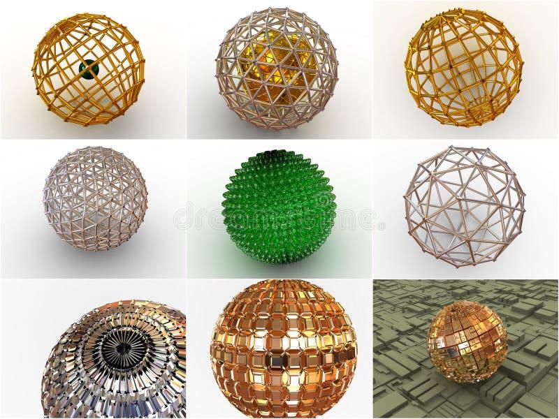 Colagem de 9 esferas tridimensionais. ícones. ilustração royalty free
