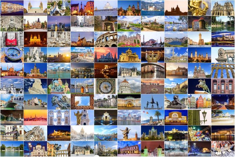 Colagem de atrações principais de Europa foto de stock