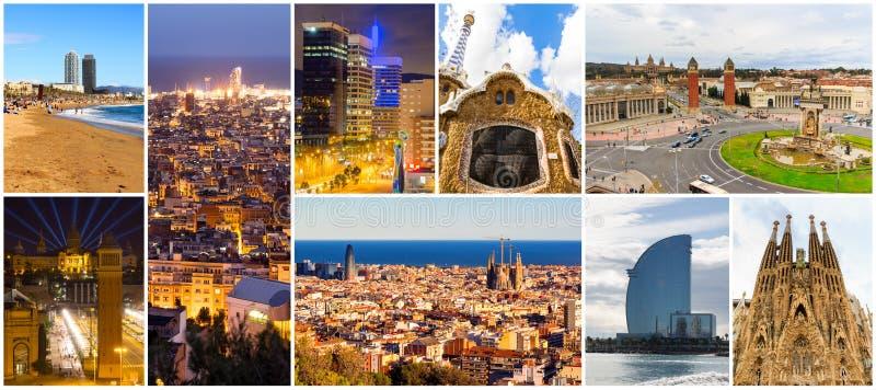 Colagem de Barcelona bonita catalonia spain fotografia de stock royalty free
