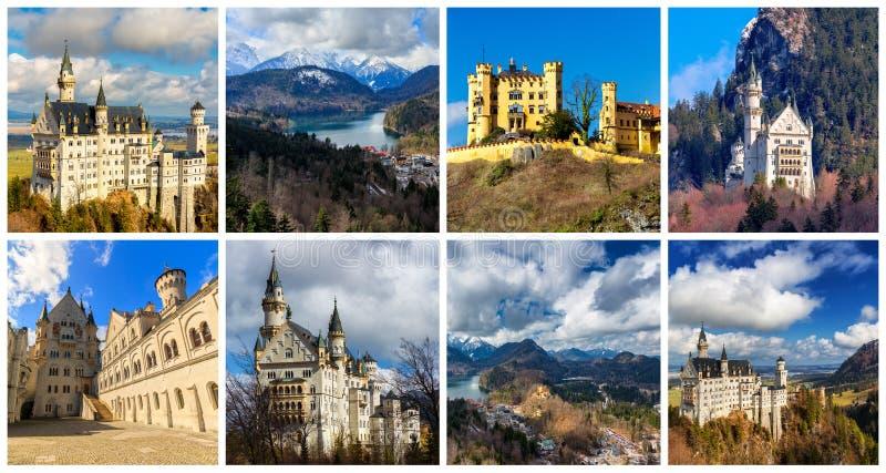 Colagem de Baviera sul com Neuschwanstein, Hohenschwangau e fotografia de stock royalty free