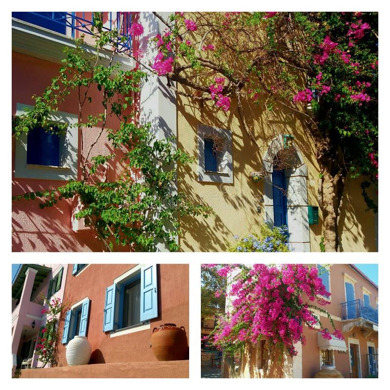Colagem de casas gregas tradicionais imagens de stock