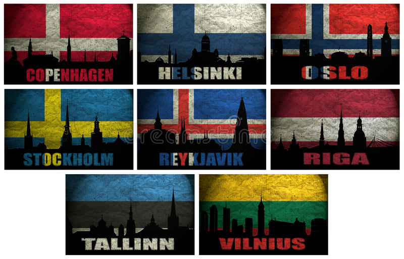 Colagem de cidades famosas de Europa do Norte (Escandinávia) ilustração royalty free