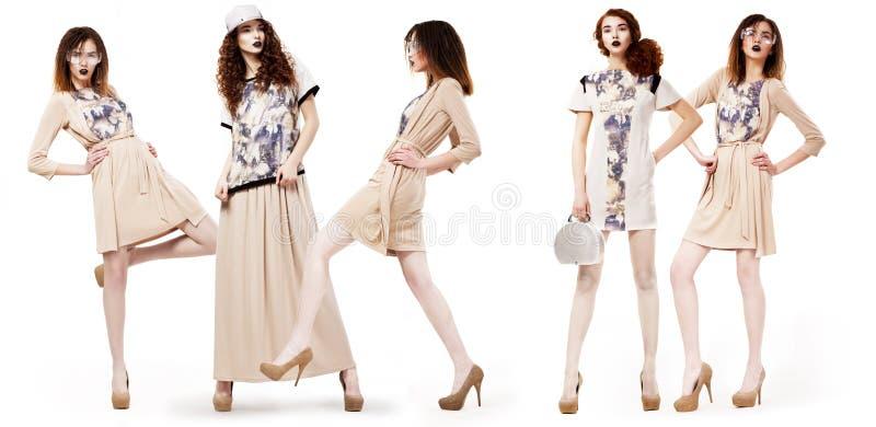 Colagem de clientes bonitas glamoroso das meninas em vestidos modernos. Estilo de vida fotografia de stock royalty free