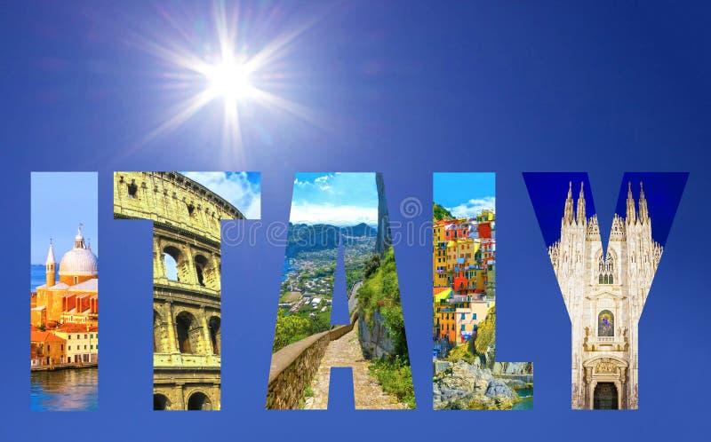 Colagem de destinos italianos principais do curso imagem de stock