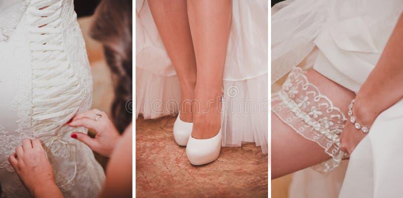 Colagem de diversas fotos para o casamento fotos de stock