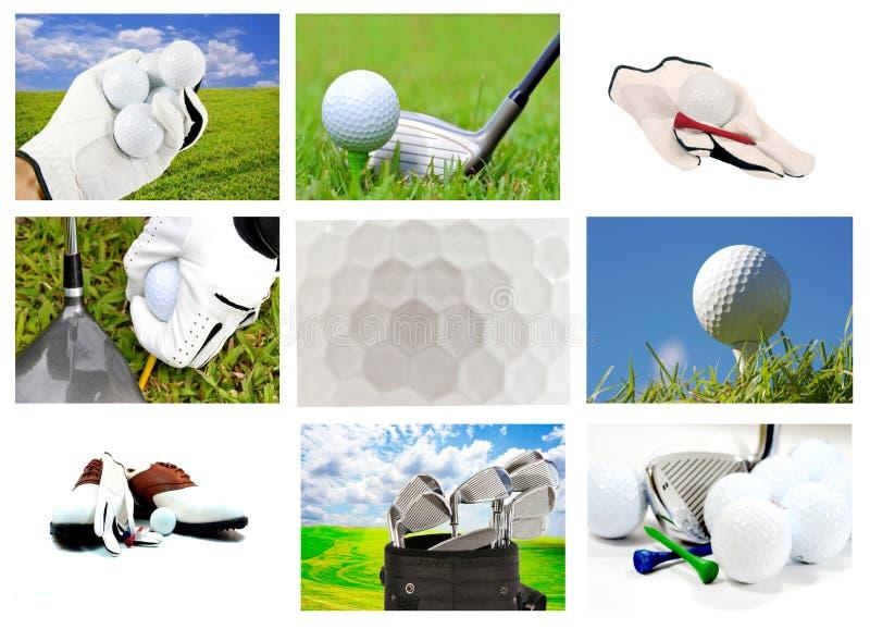 Colagem de diversos imagens relacionadas do golfe imagem de stock royalty free