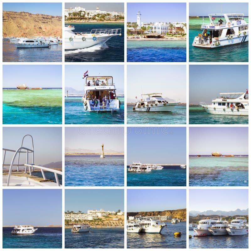 Colagem de Egito, viagem do barco de turista no Mar Vermelho, Sharm el Sheikh imagem de stock